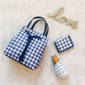 Crossbody Gingham Checkered Bag and Wallet